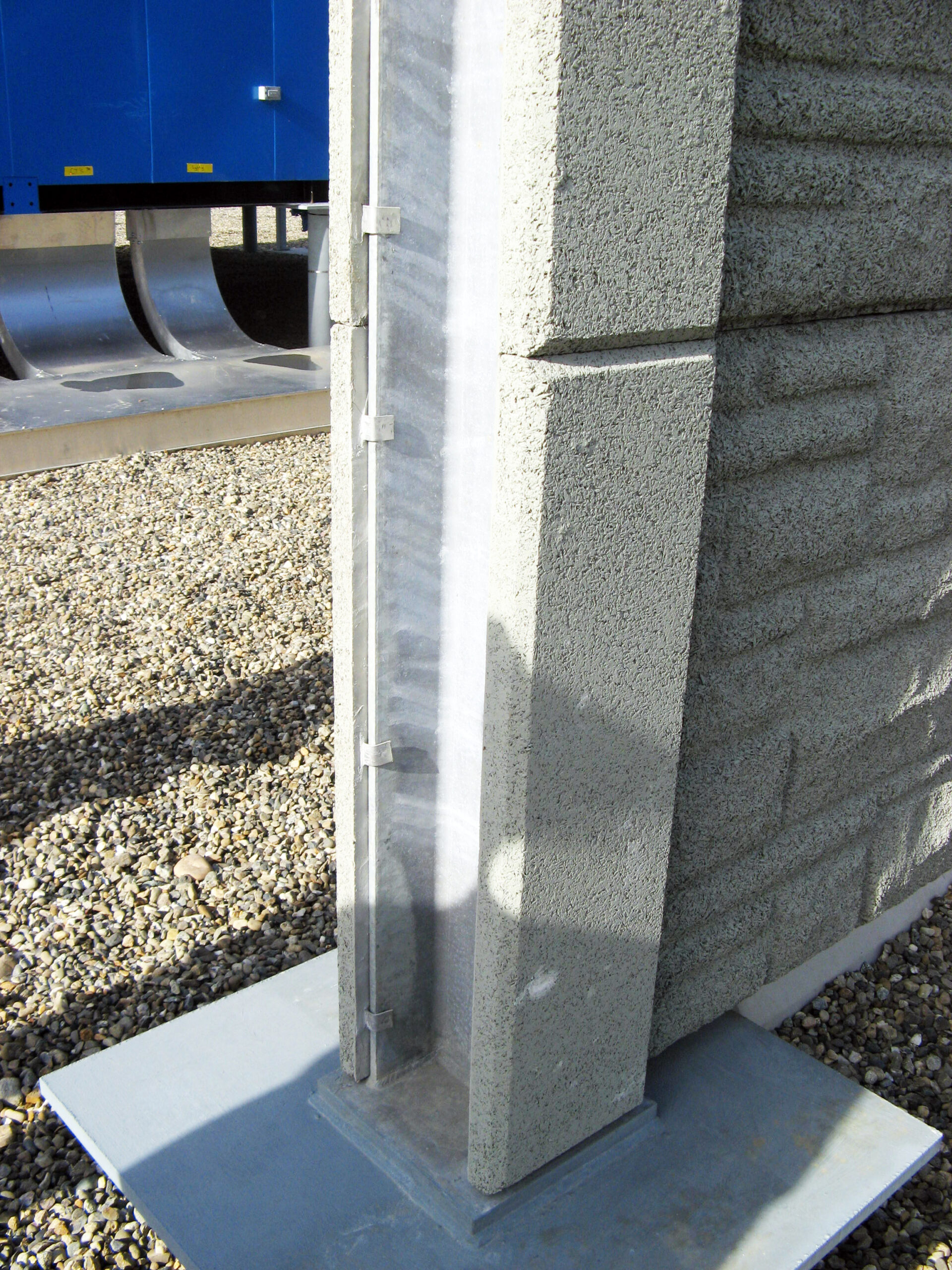 Durisol steel column facing panels clip on easily and provide a 2 hour fire rating.