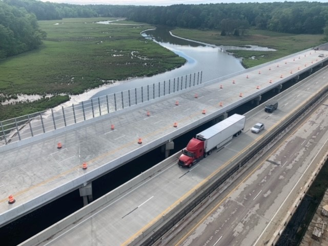 Transparent Ready-Fit Panels on Queen's Creek bridge in York County, VA.