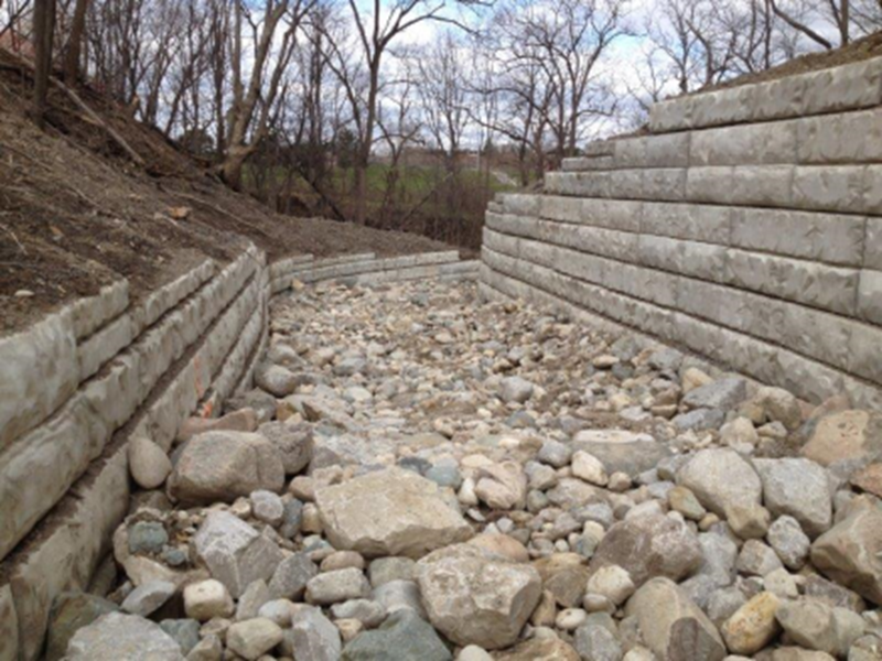 A Retain-A-Rock retaining wall system at a water outfall channel in Hamilton, ON.