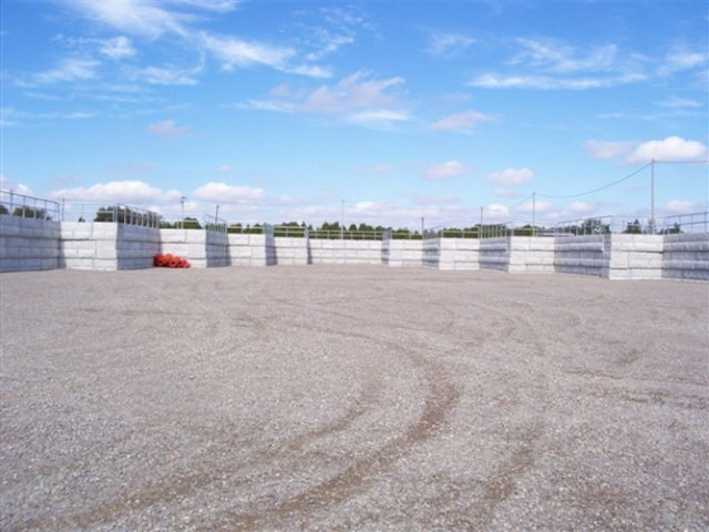 A precast retaining wall system at a waste transfer facility in Strathroy-Caradoc, ON.