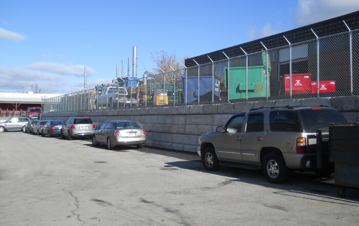 The new Retain – A – Rock (RAR) gravity block retaining wall system at an industrial facility, Smokey Manufacturing in Toronto, Ontario.